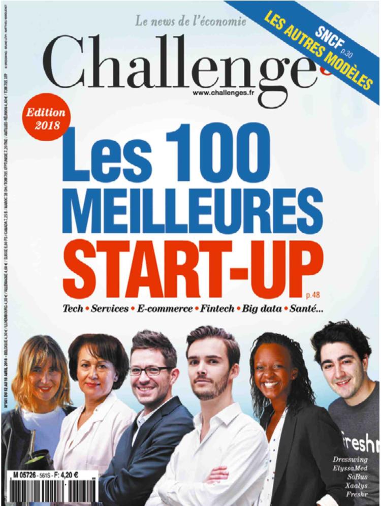 """Notre startup RAPIDLE fait partie de la sélection «100 start-up où investir en 2018"""" deChallenges."""